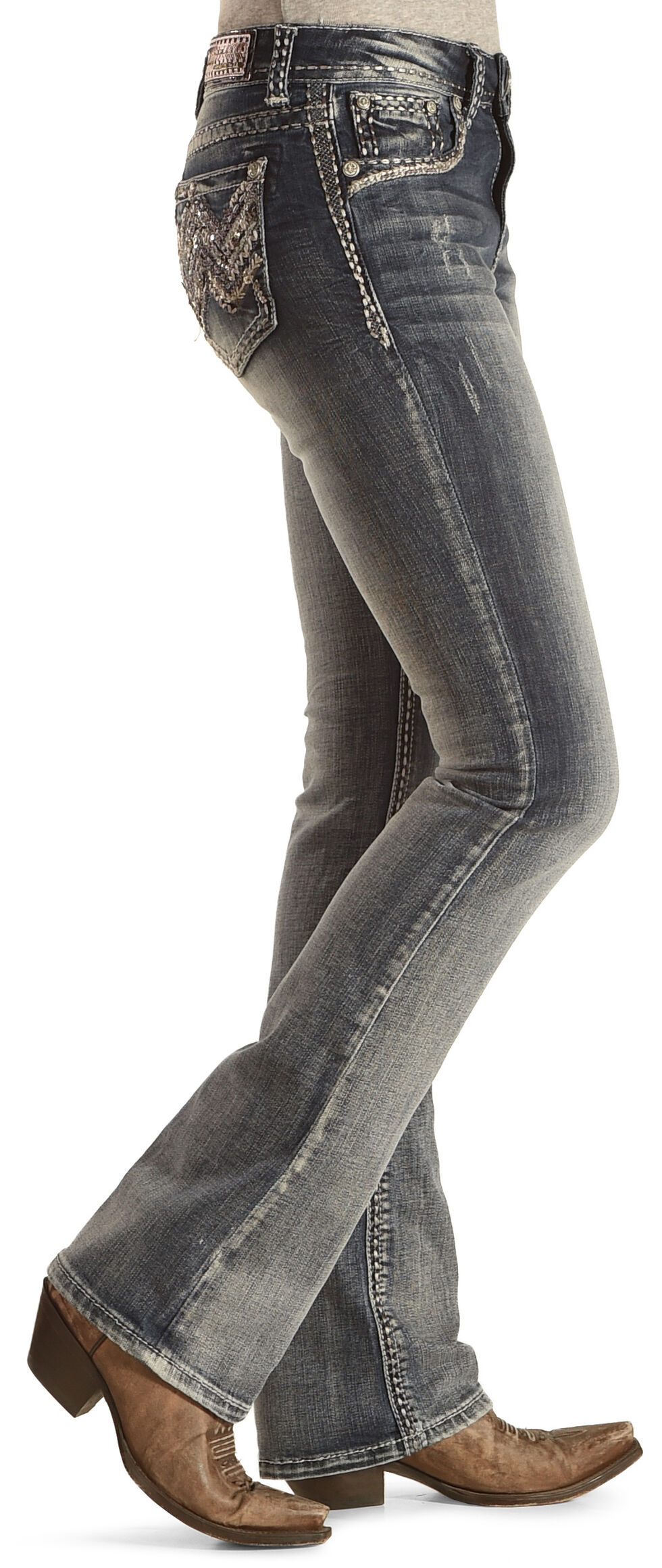 Grace in LA Women's Medium Wash Abstract Boot Cut Jeans - Plus Size, Indigo, hi-res