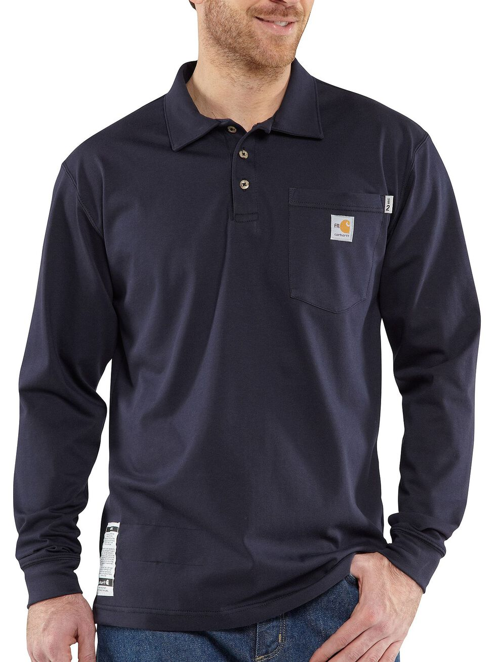 Carhartt Flame Resistant Force Long Sleeve Polo Shirt, Navy, hi-res