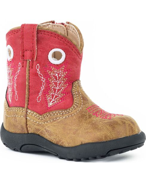 Roper Infant Boys' Cowbaby Red Hole In The Walk Boots, Tan, hi-res
