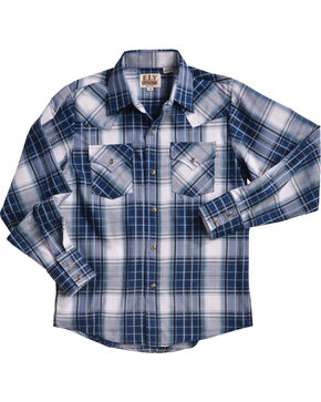 Ely Cattleman Boys' Blue Textured Plaid Snap Shirt, Blue, hi-res