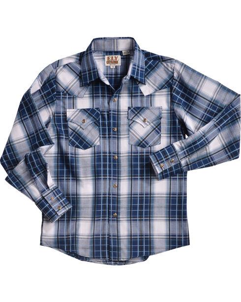 Ely Cattleman Boys' Blue Textured Plaid Snap Shirt, Blue, hi-res
