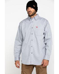 Ariat Men's FR Quartz Geo Print Long Sleeve Work Shirt , Blue, hi-res