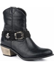 Roper Women's Mae Buckle Strap Booties - Round Toe, Black, hi-res