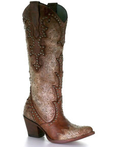Corral Women's Cognac Embroidery & Studs Western Boots - Snip Toe, Black, hi-res