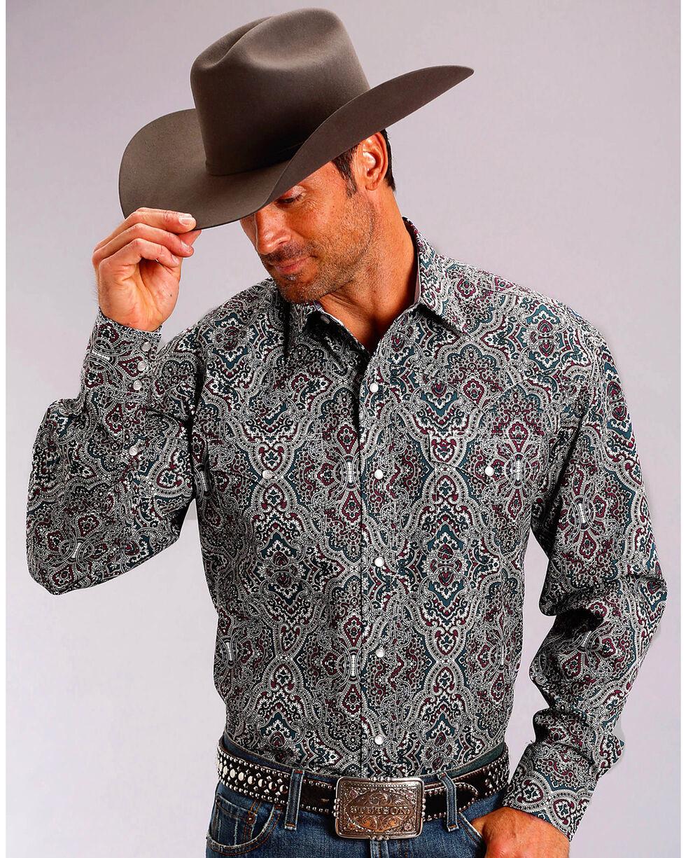 Stetson Men's Highland Paisley Long Sleeve Snap Shirt, Wine, hi-res