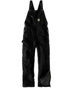 Carhartt Men's Black Firm Duck Insulated Bib Work Overalls - Tall, Black, hi-res