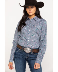 Cinch Women's Grey Paisley Print Snap Long Sleeve Western Shirt, Multi, hi-res