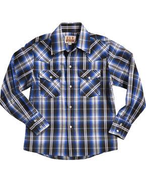 Ely Cattleman Boys' Blue Textured Plaid Western Shirt , Black, hi-res