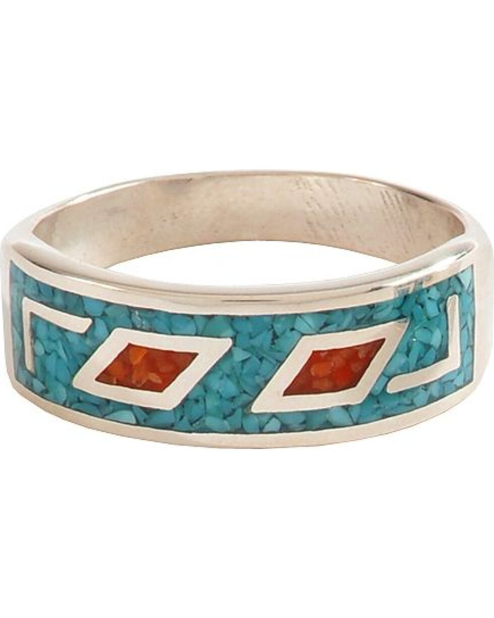 Sterling Silver Turquoise & Coral Unisex Ring, , hi-res