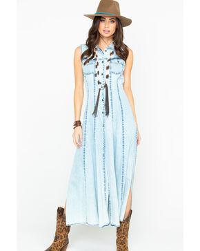 Nostalgia Women's Denim Embroidered Button Up Dress  , Blue, hi-res