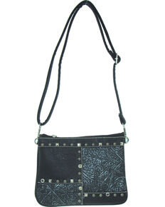 Savana Women's Fuax Leather Patchwork Crossbody Bag , Black, hi-res