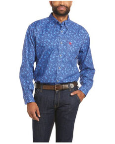 Ariat Men's FR Eastwood Paisley Durastretch Long Sleeve Button Work Shirt - Big & Tall , Blue, hi-res