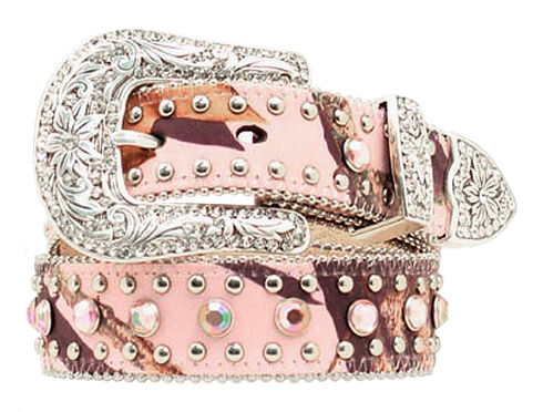 Girls' Pink Camo w/ Rhinestones Western Belt, Pink, hi-res
