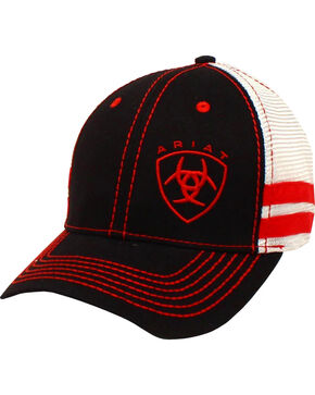 Ariat Men's Black with Red Offset Baseball Cap , Black/red, hi-res