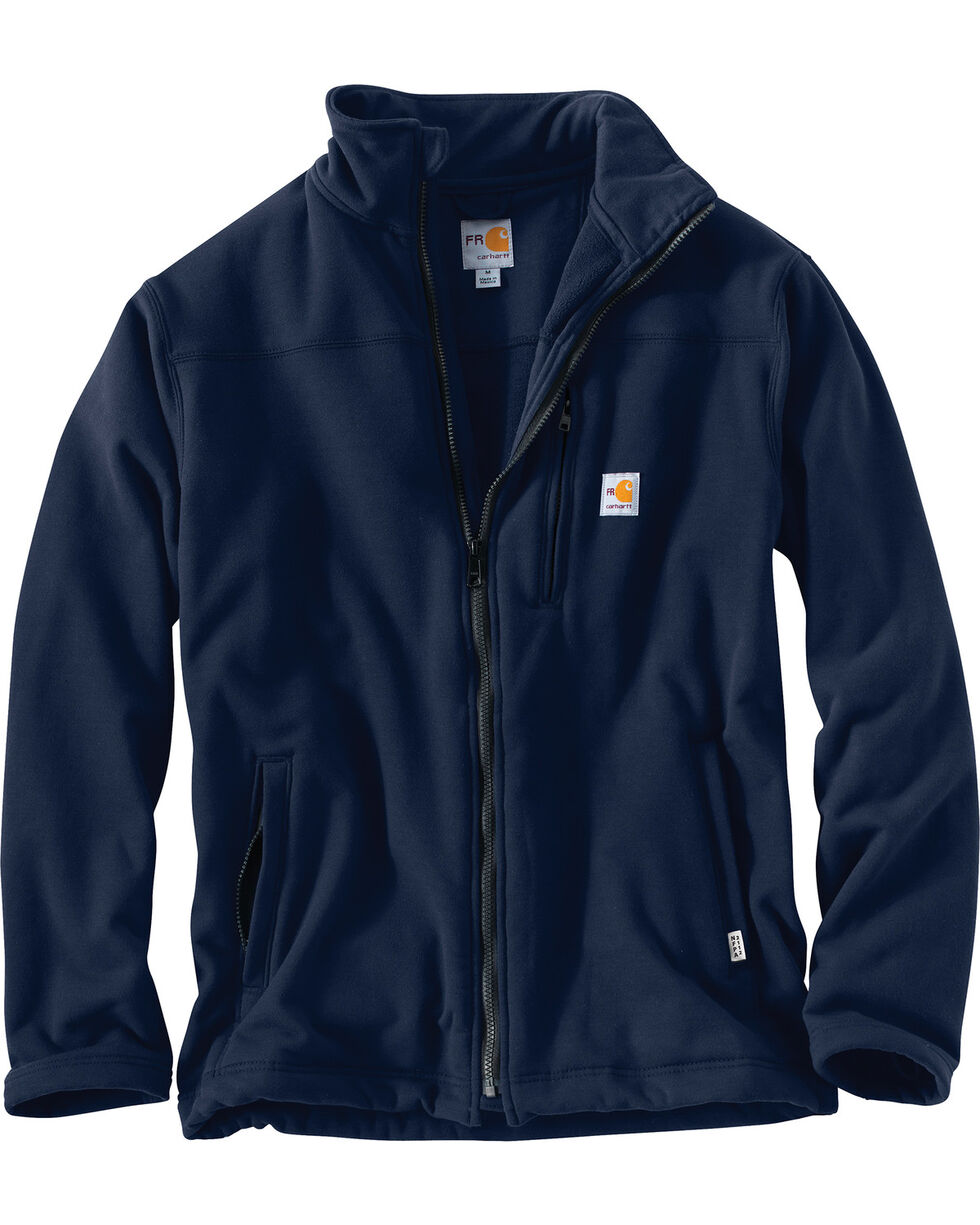 Carhartt Men's Flame Resistant Portage Fleece Jacket, Navy, hi-res