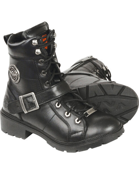 Milwaukee Leather Women's Lace To Toe Side Buckle Leather Boots - Round Toe - Wide, Black, hi-res