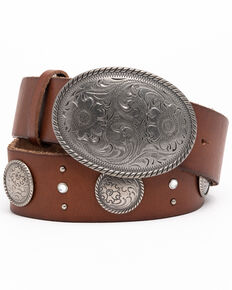 Shyanne Women's Brown Studded Wide Silver Concho Western Belt, Brown, hi-res