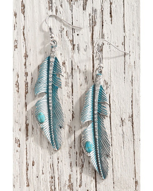Shyanne Women's Turquoise Feather Earrings, Turquoise, hi-res