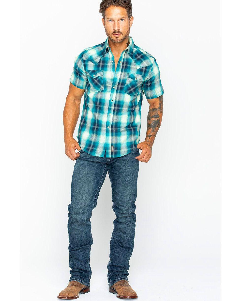 Wrangler Men's Green Retro Plaid Short Sleeve Shirt , Green, hi-res