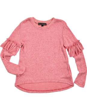 Derek Heart Girls' Pink Ruffle Detail Long Sleeve Sweater, Pink, hi-res