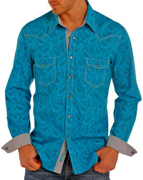 Rock & Roll Cowboy Men's Turquoise Paisley Print Long Sleeve Snap Shirt, Turquoise, hi-res