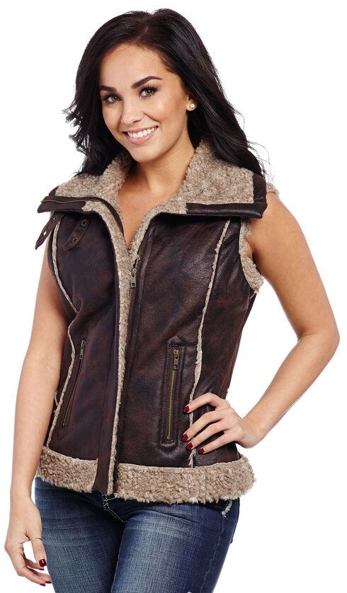 Cripple Creek Women's Faux Leather Fur Trim Vest , Chocolate, hi-res