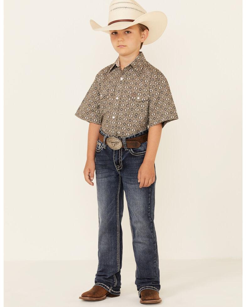 Panhandle Boys' Taupe Aztec Print Short Sleeve Snap Western Shirt , Tan, hi-res