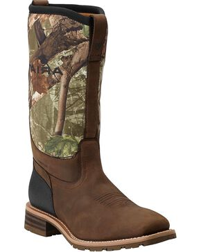 Ariat Hybrid All Weather Waterproof Camo Neoprene Work Boots - Square Toe, Brown, hi-res