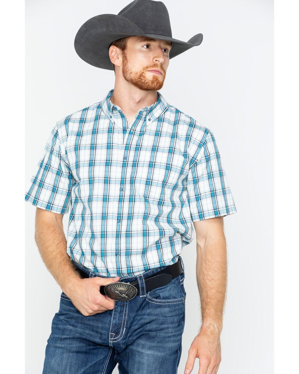 Gibson Men's Plaid Short Sleeve Button Down Shirt, Turquoise, hi-res
