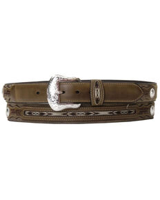 Nocona Top Hand Fabric Inset Center Concho Belt - Large, Brown, hi-res