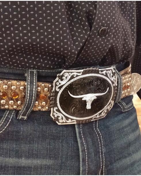 Montana Silversmiths Gunmetal Cameo Longhorn Steer Buckle , Silver, hi-res