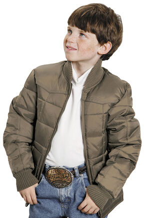 Roper Boys' Range Gear Quilted Nylon Jacket, Khaki, hi-res
