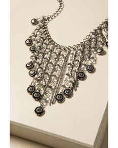Shyanne Women's Sparkle N' Spice Fringe Statement Bib Necklace, Silver, hi-res