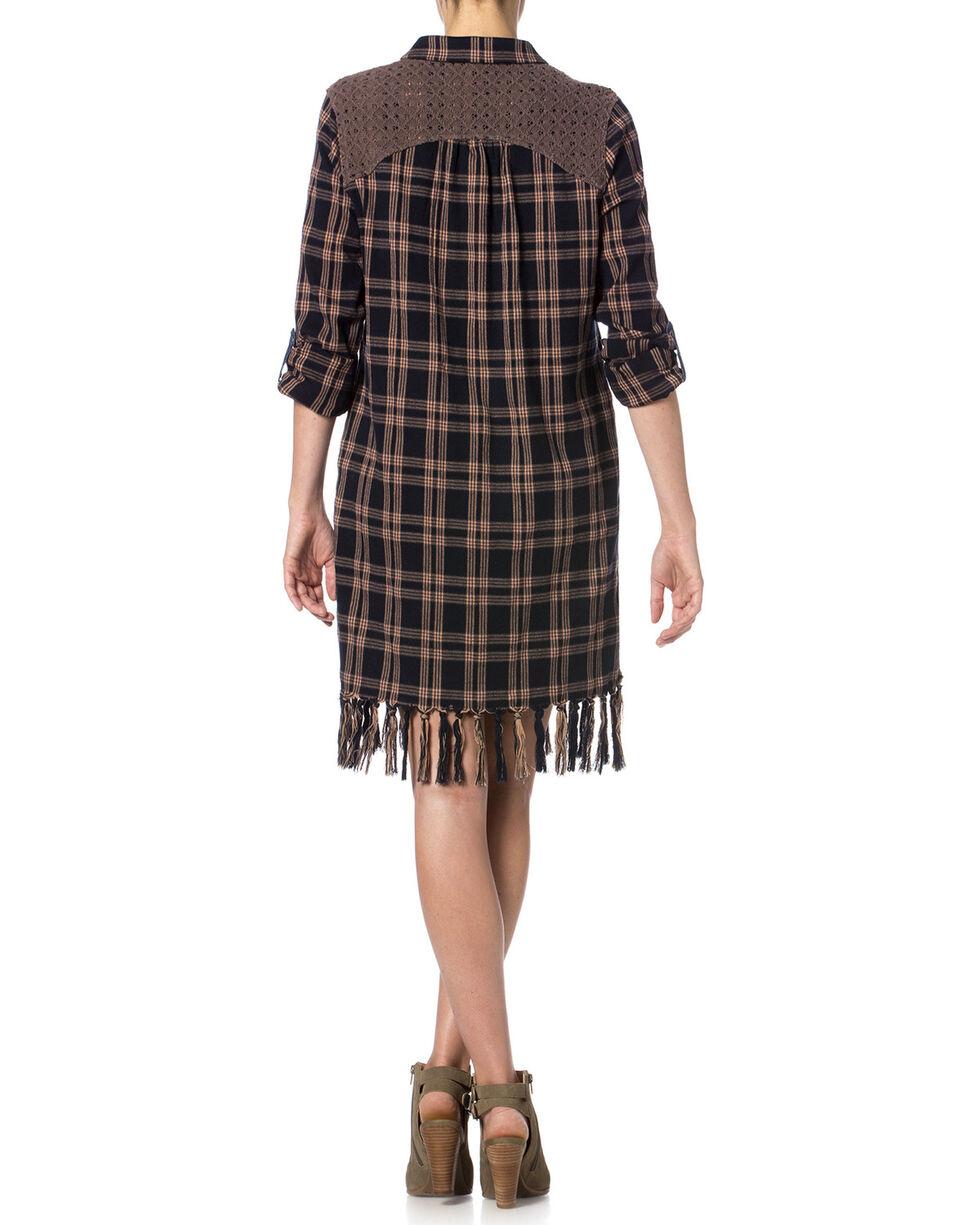 Miss Me Plaid Fringe Dress, Navy, hi-res