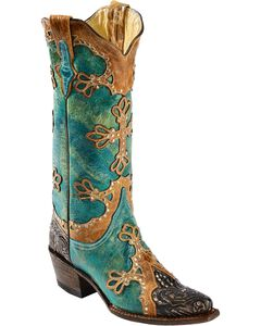 Ferrini Embossed Diva Studded Cross Overlay Cowgirl Boots - Snip Toe, Turquoise, hi-res