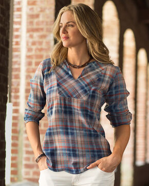Ryan Michael Women's Indigo Headdress Embroidered Plaid Shirt, Indigo, hi-res