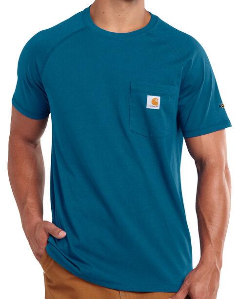 Carhartt Men's Blue Force Cotton Delmont Short Sleeve T-Shirt - Big and Tall, Blue, hi-res