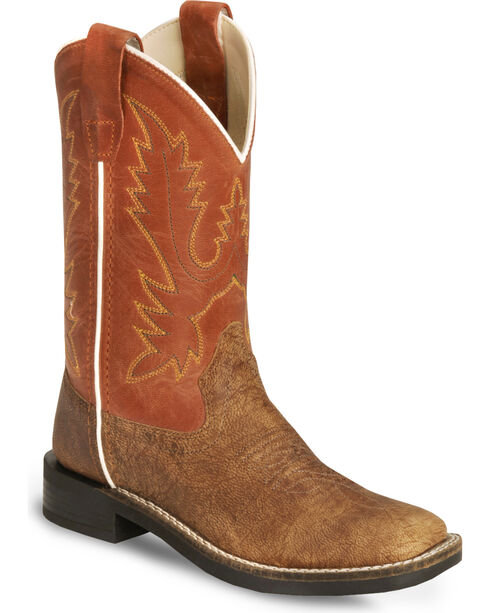 Old West Youth Vintage Tan Cowboy Boot - Square Toe, Tan, hi-res