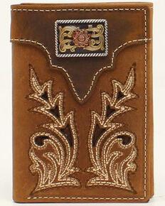 Nocona Men's Boot Stitch Concho Trifold Wallet, No Color, hi-res