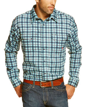Ariat Men's Navy Flame Resistant Trenton Plaid Long Sleeve Work Shirt - Tall , Navy, hi-res