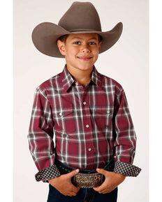 Roper Boys' Red Rock Plaid Long Sleeve Snap Western Shirt , Red, hi-res