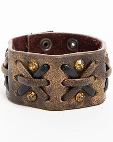 Shyanne Womens Two Tone Criss Cross Bracelet Cuff Brown Hi Res