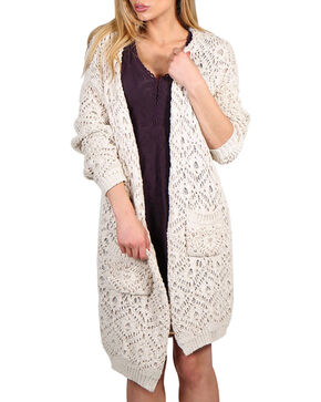 Petrol Women's Oversized Open Front Cardigan, Ivory, hi-res