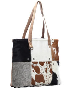 Myra Bag Women's Cowhide Patch Tote, Brown, hi-res