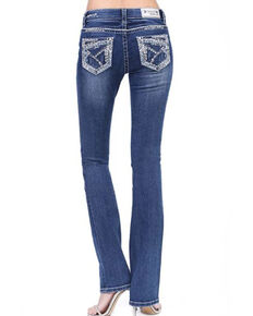 Grace in LA Women's Medium Heavy Stitch Straight Jeans - Plus, Blue, hi-res