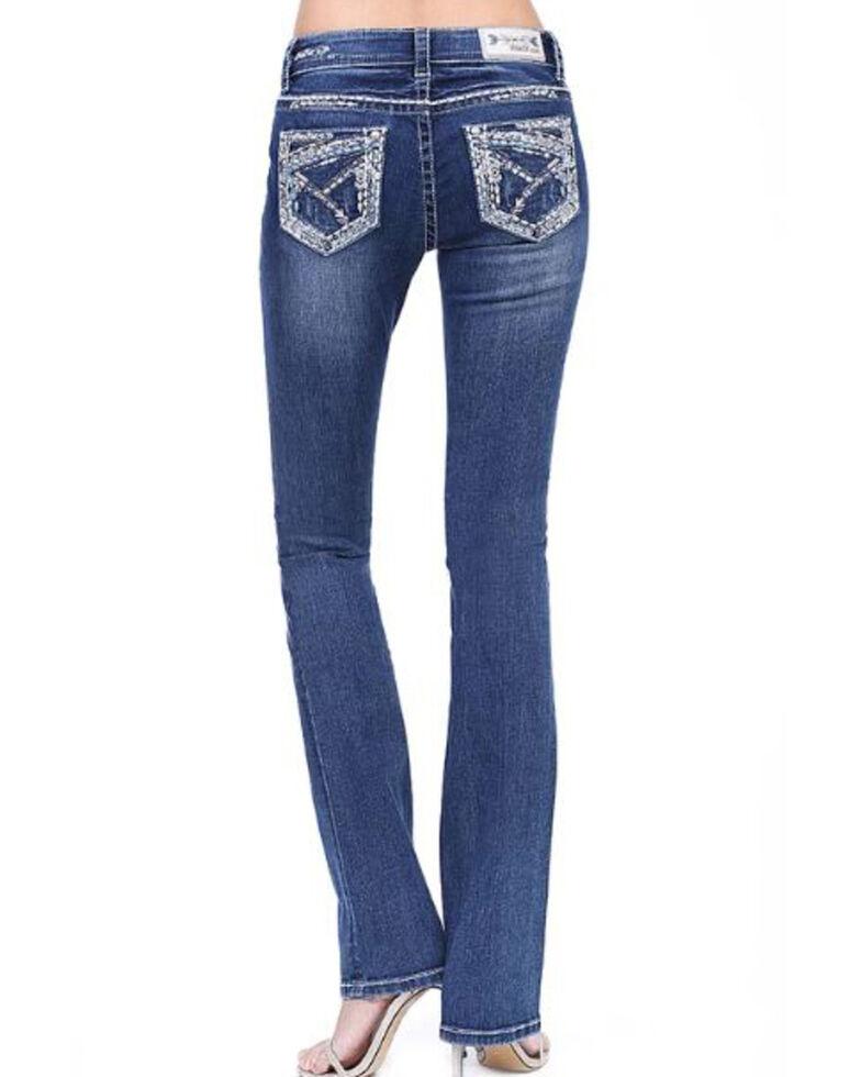 Grace in LA Women's Medium Heavy Stitch Straight Jeans - Plus, Blue, hi-res