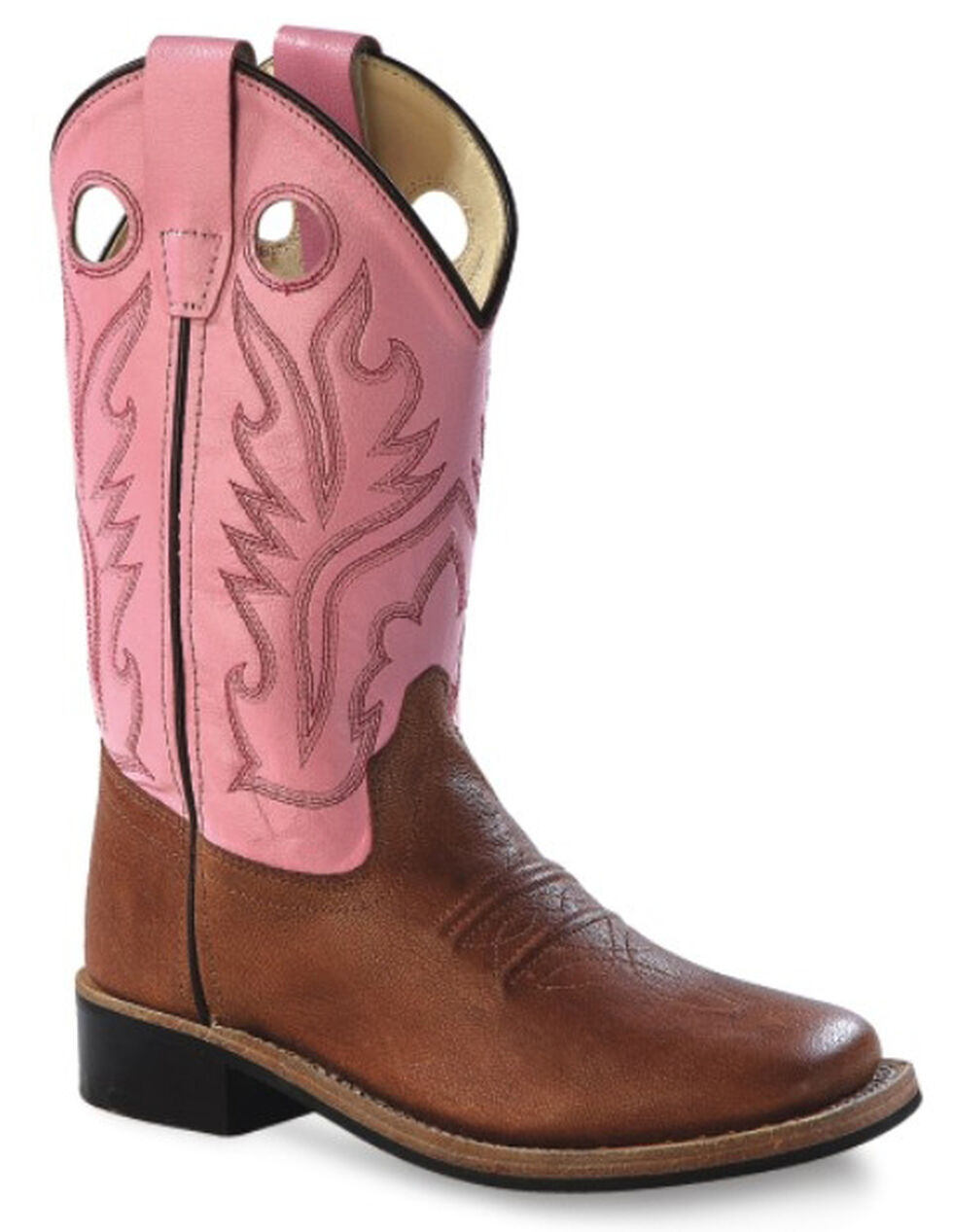 Old West Youth Girls' Pink Canyon Cowgirl Boots, Tan, hi-res