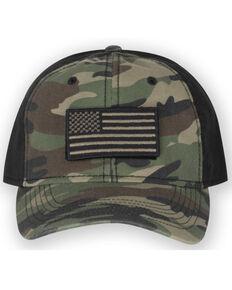 Dri-Duck Men's Camo Print Flag Patch Flex-Fit Ranger Cap , Camouflage, hi-res