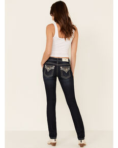 Miss Me Women's Aztec Cactus Straight Jeans, Dark Blue, hi-res