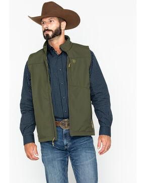 Ariat Men's Vernon Soft Shell Vest, Olive, hi-res